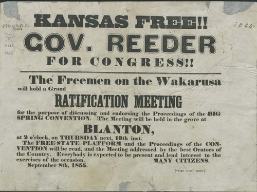This broadside was an invitation to attend a meeting to discuss and endorse the proceedings of the Big Spring Convention which was organized by free state supporters as part of the actions leading up to the drafting of the Topeka Constitution