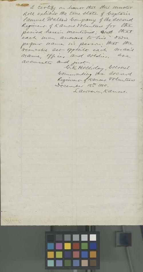 Muster Roll of Captain Samuel Walker, Company D, Second Regiment, 1st Brigade, Kansas Volunteeers - Page