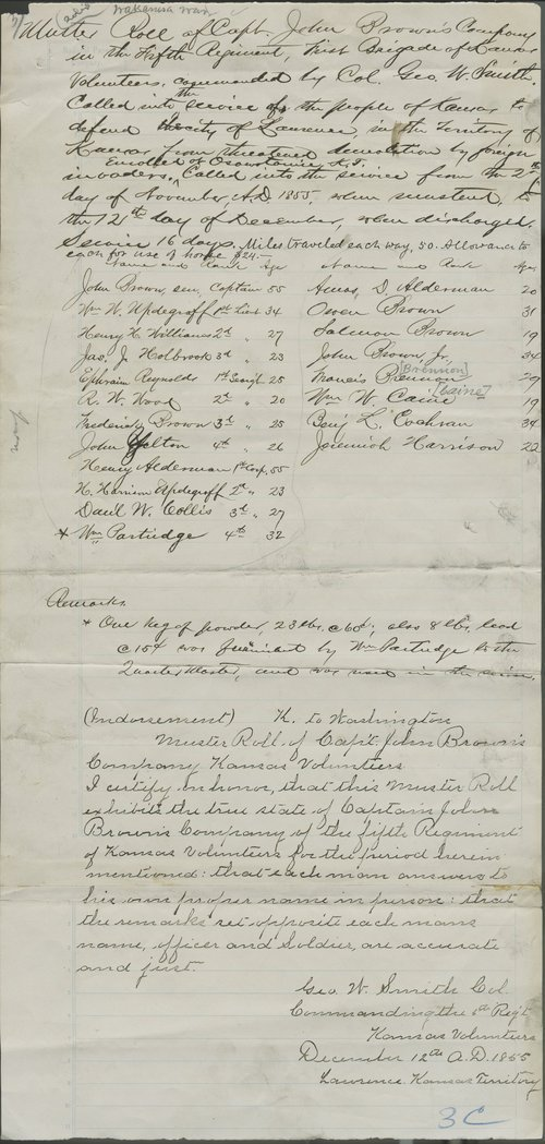 Muster Roll of Captain John Brown's Company, Fifth Regiment, 1st Brigade,  Kansas Volunteers - Page