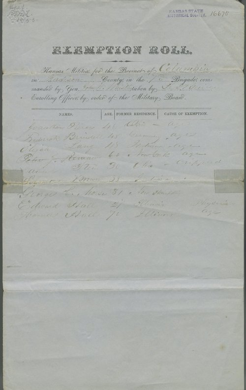 Exemption Roll, Kansas Militia for Precinct of Columbia, Madison County, 7th Brigade - Page