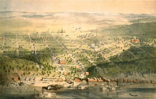 Lithograph depicting Sumner, Kansas Territory, ca. 1855.