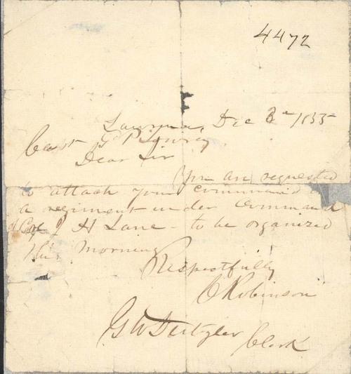 Charles Robinson to Capt. Grosvenor P. Lowry - Page