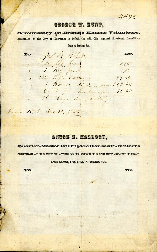 Commissary 1st Brigade Kansas Volunteers receipt, 1855 - Page