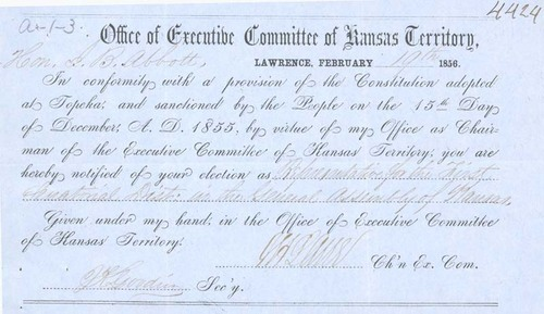 Certificate of election, James Abbott, Representative to the General Assembly of Kansas - Page