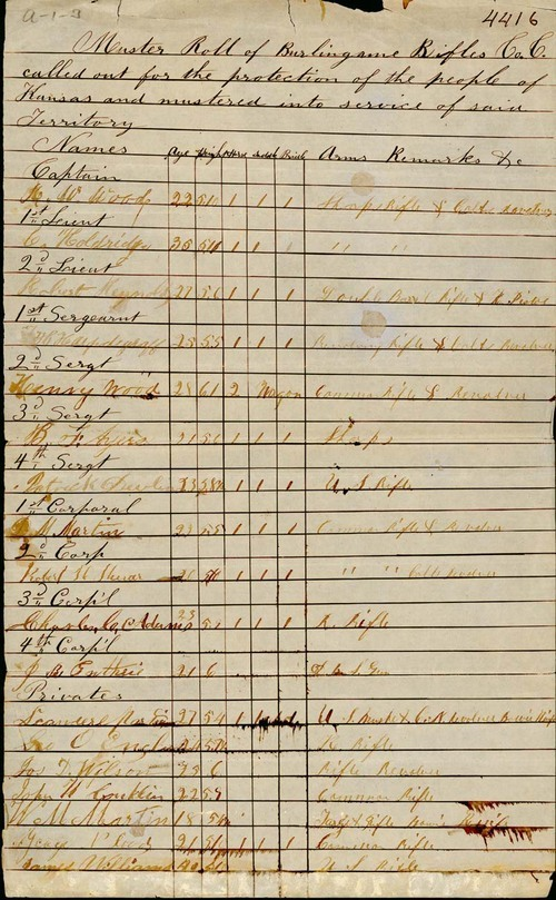 Muster roll, Burlingame Rifles Company C - Page