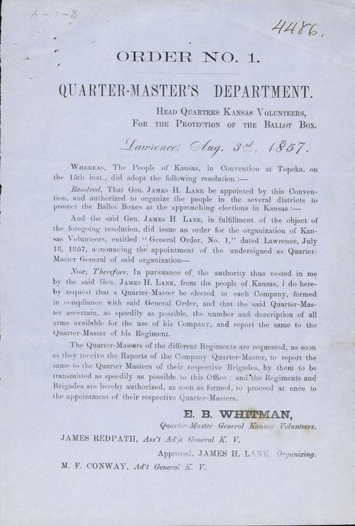 Order No. 1, from the Headquarters of the Kansas Volunteers for the Protection of the Ballot Box - Page