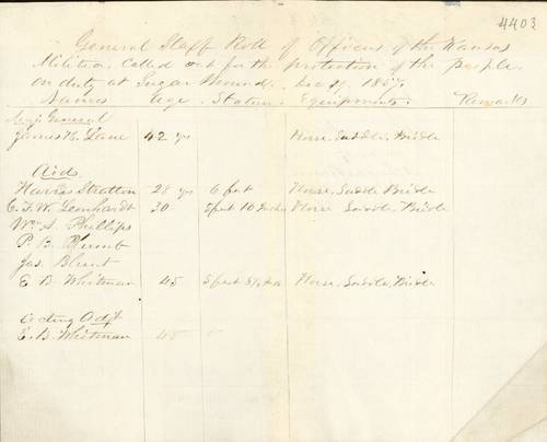 General staff roll of officers on duty at Sugar Mound - Page