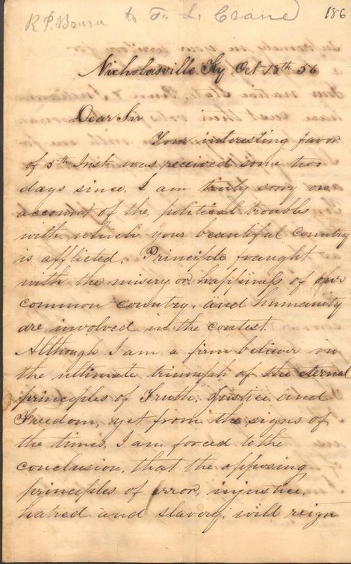 R.  P.  Bourn to Franklin Crane - Page