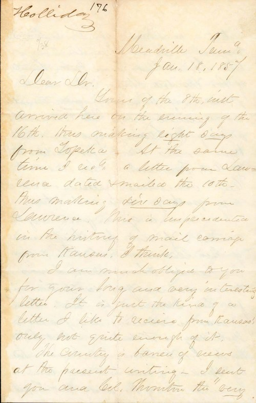 C. K. Holliday to Franklin Crane - Page