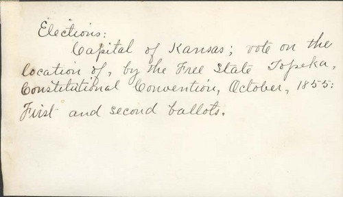 Election, location of capital of Kansas, Topeka Convention, 1855 - Page