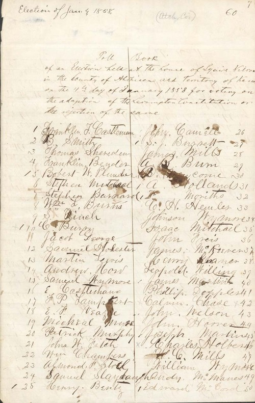 Poll Book, Atchison, Lecompton Constitution - Page