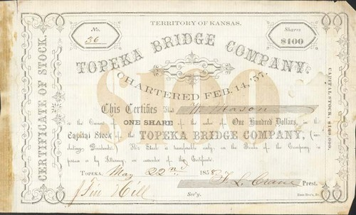 Stock Certificate, Topeka Bridge Company - Page