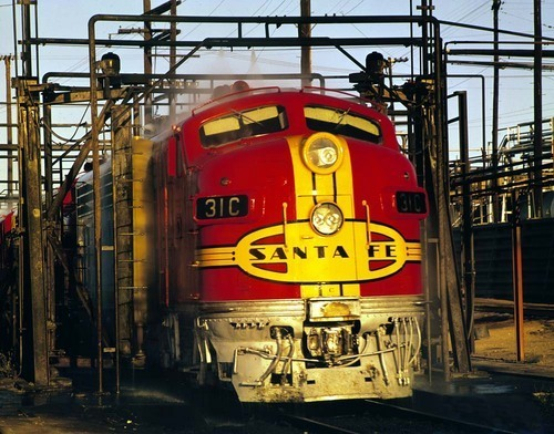 Locomotive leaving wash rack, Barstow, California - Page