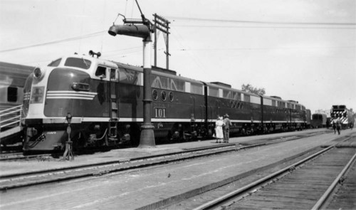 Inspecting new Atchison, Topeka, and Santa Fe Railway FT diesel engines, Hutchinson, Kansas - Page
